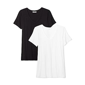 Brand - Daily Ritual Women's Jersey Short-Sleeve V-Neck T-Shirt, Black/White, X-Small