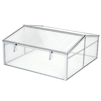 Outsunny Outdoor Greenhouse Polycarbonate Grow House Flower Vegetable Plants Raised Bed Garden Allotment Protector Aluminum Frame 100 x 100 x 48 cm