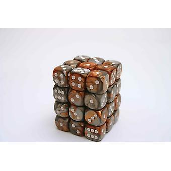 Chessex Gemini 12mm D6 Block - Copper-Steel/white