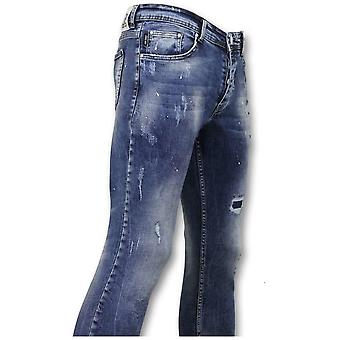 Pants With Spots - Skinny Jeans - Blue