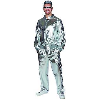 Space Suit Space Galaxy miesten puku 2pcsilver spaceoverall hopea puku karnevaali teemajuhla