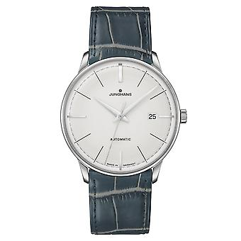 Junghans Meister Classic Terrassenbau Automatic 027/40190.02 Silver Dial Green Leather Strap Men's Watch