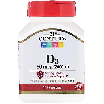 21ème siècle, vitamine D3, 50 mcg (2 000 UI), 110 comprimés