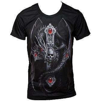 Wild star - gothic dragon - mens t-shirt tops - black