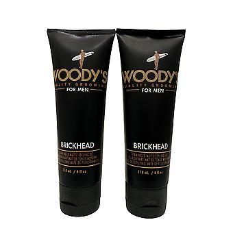 Woody's for Men Brickhead Firm Hold Matte Styling Gel Set 4 OZ Each