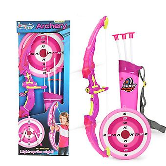 Light Up Archery Bow And Arrow Toy Set For Boys / Girls With 3 Suction Cup Arrows Target And Quiver