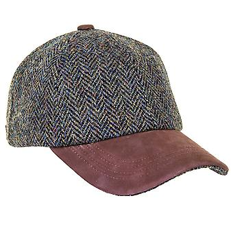 ZH016  (DARK GREEN HB ONE SIZE ) Glencairn Harris Tweed Lth Pk BB Cap