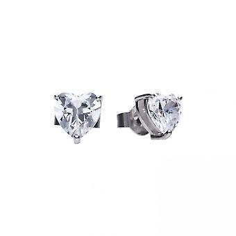 Boucles d'oreilles Diamonfire Silver White Zirconia Heart