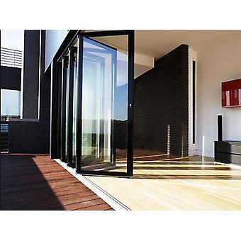 اِناء ألمنيوم خشبية، نوافذ ثنائية قابلة للطي