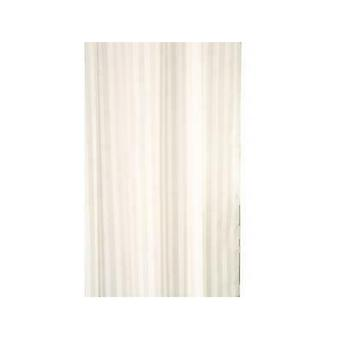 Croydex Shower Curtain Polyester Textile Ivory Woven Stripe Water-Resistant