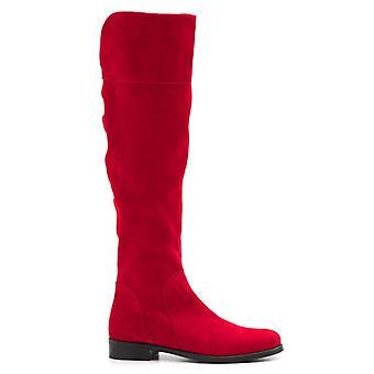 Boot Med Gambale Ovanför knä i röd mocka