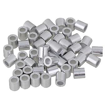 50pcs M4 Round Holes Ferrules Wire Rope Aluminum Clamps Sleeves Clip Silver