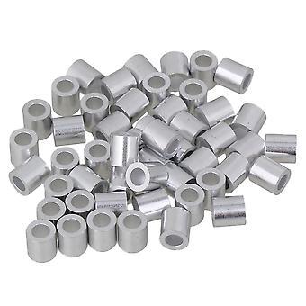 50pcs M4 Găuri rotunde Ferrules Sârmă frânghie aluminiu Cleme Mâneci Clip Argint