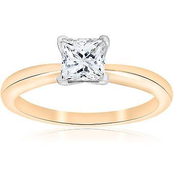 E VS 1ct GIA אישור נסיכה לחתוך סוליטר טבעת אירוסין צהוב זהב