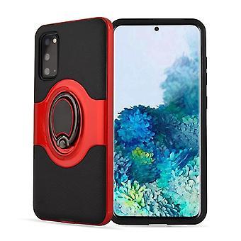 Für Galaxy S20 Dual Layer TPU + PC Hybrid Rüstung stoßfest Essbare Gehäuse mit 360 Grad rotierenden Metall Ring Halter (rot)