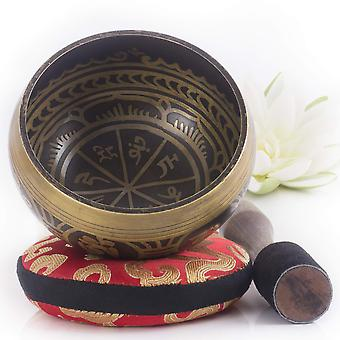 Silent mind ~ tibetan singing bowl set ~ antique design ~ with dual surface mallet and silk cushion