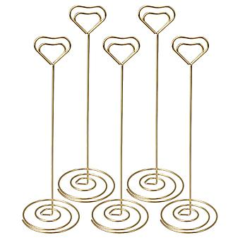 5 Pieces Heart Shape Holders Golden Place Card Memo Stand for Wedding