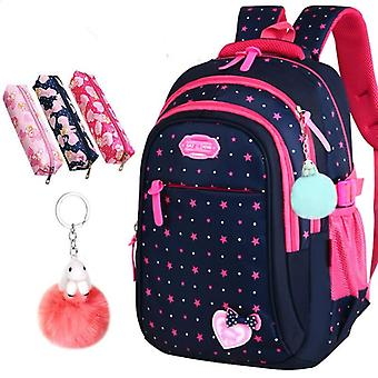 Elementary Backpack Stars Print Student Bags Cute Bow-knot Kids Bookbags