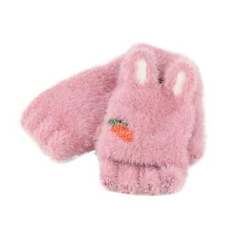 Cute Rabbit Ears Plush Gloves Flipped Half Finger Outdoor Kids Winter