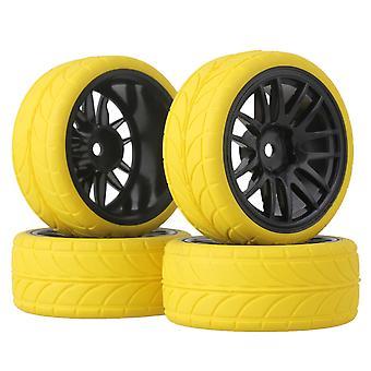 4 x Yellow Arrow Rubber Tire + Black 14 Spoke Wheel Rim for RC1:10 On Road Car