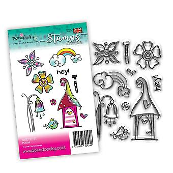 Polkadoodles Rainbow Wishes Clear Stamps
