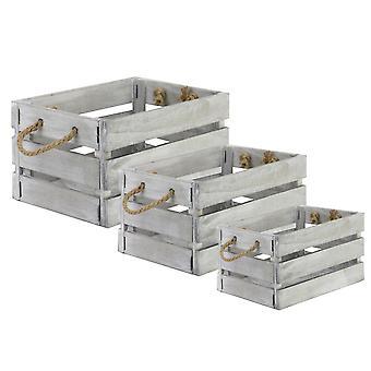 Set of 3 Wooden Storage Crates | M&W