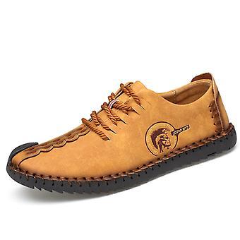 Zapatos casuales de viaje para hombre de cuero amarillo