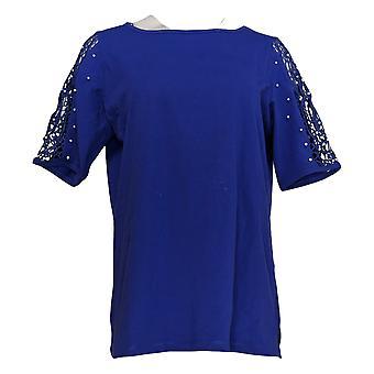 Quacker Factory Women's Top Lace Sleeve Knit w/ Faux Pearls Purple A308121