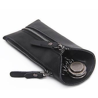 Vintage Genuine Leather Key Wallet Women Keychain Covers, Zipper Key Case Bag
