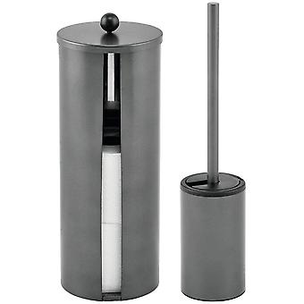 mDesign 2-Piece Bathroom Accessories Set – Modern Stainless Steel Set with Toilet Roll Holder