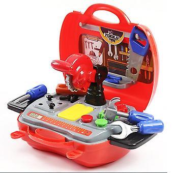 plast motorsag skruer hammer late spille barn konstruksjon verktøy koffert boks
