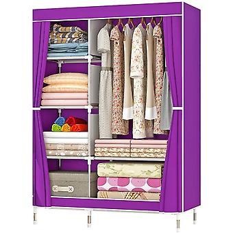 ZZBIQS Kleiderschrank mit Fchern und Seitentasche, Stoffschrank -Garderobe mit Kleiderstangen,