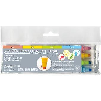 Kuretake Zig Clean Colour Dot Marker Pens - 4 Colour Set