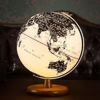 Globe World Map Earth Globe Vintage Wooden Ornaments Usb Glow Globe