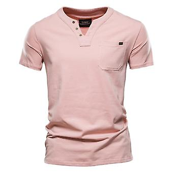 Summer Top Quality Cotton T Shirt Men Solid Color Design V-neck Casual Classic Clothing