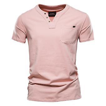 Sommar högkvalitativ bomull T Shirt Män Solid Color Design V-ringad Casual Classic Kläder