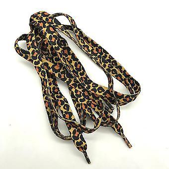 1pair Leopard nyomtatott poliészter cipőfűző