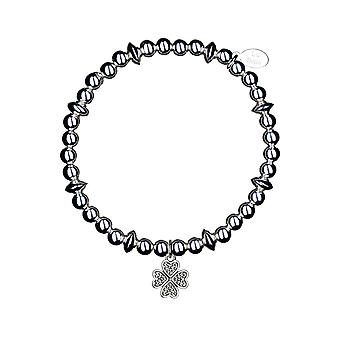 Lucky Clover Disc Stacking Bracelet - 17.5cm - Silver - Jewellery Gifts for Women from Lu Bella