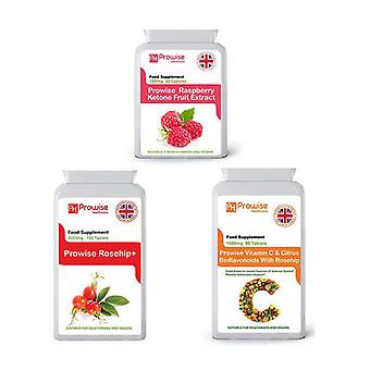 Raspberry Super Strength  + Rosehip + Vitamin C | Suitable For Vegetarians & Vegans | Made In UK by Prowise