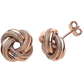 Jewelco London Ladies Rose Gold-Plated Sterling Silver # Love Me Knot Stud Earrings