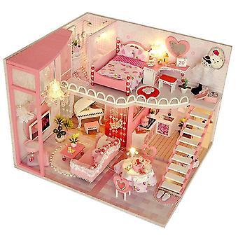 Diy كوخ منزل اليدوية بناء العلية اللعب