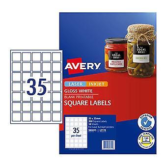 Avery Label Square Gloss White L7119 Pk350