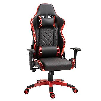 Vinsetto Holographic Stripe Gaming Chair Ergonomic Design PU Leather High Back 360° Swivel w/ 5 Wheels 2 Pillows Back Support Racing Chair Black&Red
