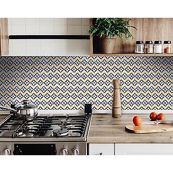 "4"" X 4"" Blue Yellow Zig Peel And Stick Tiles"