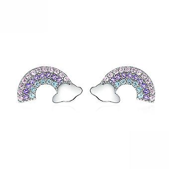 Ear Studs Small Rainbow-shaped S925 Platinum Plated Antiallergy Earrings For Birthday Gift