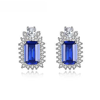 Ear Studs S925 Artificial Blue Colored Gems Earrings For Birthday Gift