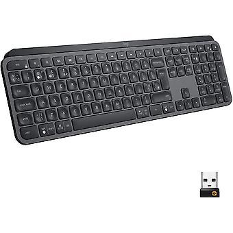 Logitech MX Keys Pokročilá osvetlená bezdrôtová klávesnica, Bluetooth, responzívny dotykový vstup, podsvietené klávesy, USB-C, PC / Mac / Laptop Windows / Linux / IOS / Android (Grafit čierna)
