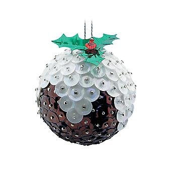 Pinflair Sequin & Pin Christmas Pudding Bauble Ornaments - Makes 2