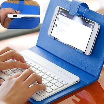 Qwert Mini Wireless Bluetooth Keyboard with Leather Case Stand Smart Phone Chargable Keyboard