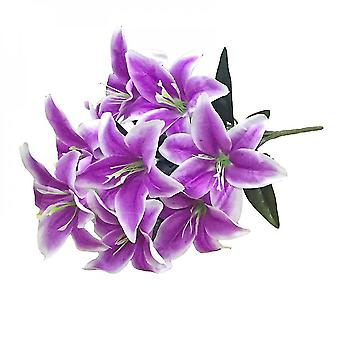 2pcs Artificial Lily 10  Fake Lily Artificial Flower Wedding Party Decor Bouquet Home Hotel  Art